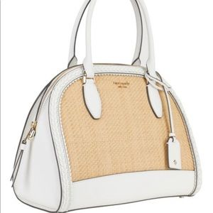 Bright White Reiley Straw Large Dome Satchel